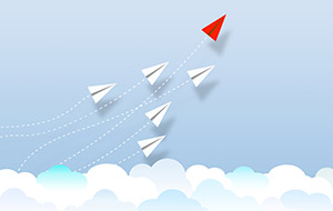 illustration of white paper planes following a red paper plane