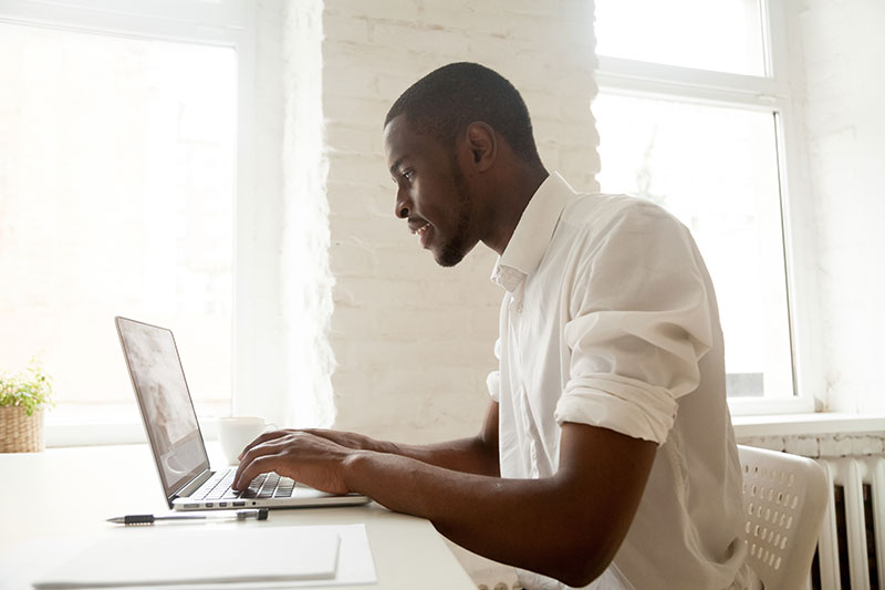 man using the computer