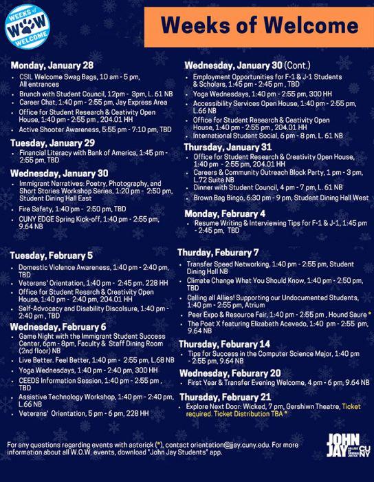 Weeks of Welcome Schedule 2019