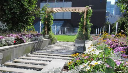 John Jay rooftop garden facing Haaren Hall