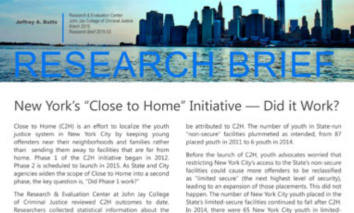 """John Jay College Report Finds New York's """"Close to Home"""" Initiative Improved Youth Justice in the City"""
