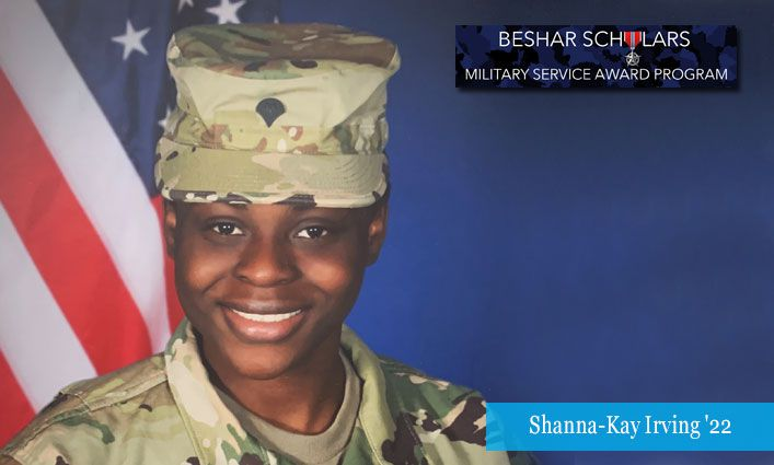 Beshar Scholars Military Service Award: Shanna-Kay Irving '22 Provides Support to First Responders, Health Care Workers, Service Members, and At-Risk Youth