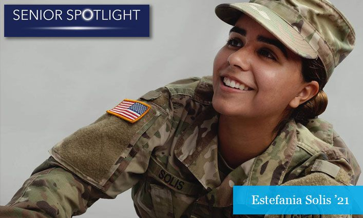 Senior Spotlight: National Guardswoman Estefania Solis '21 Earns Her Degree While Working in a Covid-19 Vaccination Site