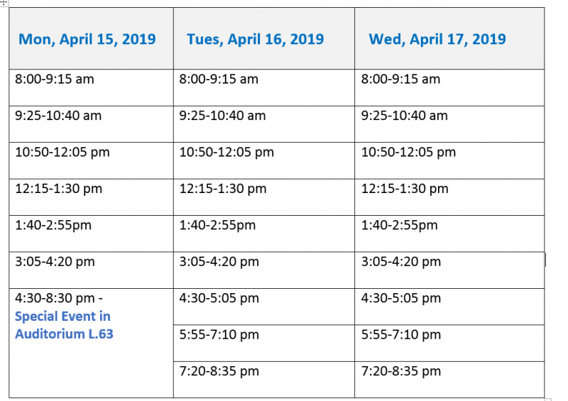 Schedule as of April 10
