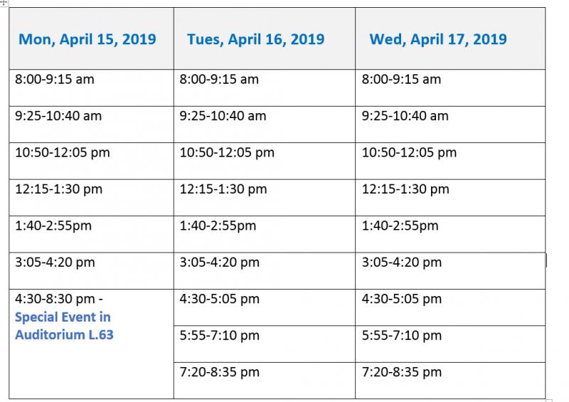 2019 Schedule as of December 13, 2018